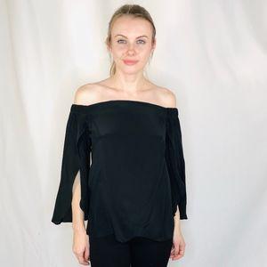 Bailey 44 Black Silk Split Sleeve Off Shoulder Top